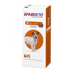 Бравекто — жевательная таблетка от блох и клещей для собак мелких пород 4,5-10 кг