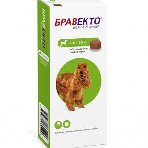 Бравекто — жевательная таблетка от блох и клещей для собак средних пород 10-20 кг