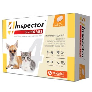Inspector Quadro Tabs Таблетки для кошек и собак 0,5-2кг