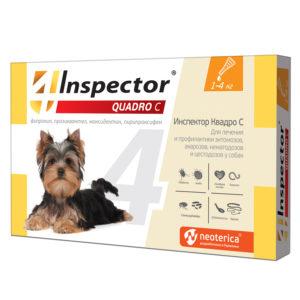 Инспектор Квадро С капли для собак от 1 до 4 кг для лечения и профилактики энтомозов, демодекоза, отодектоза, саркоптоза, акарозов