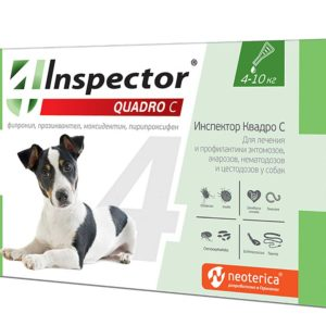 Капли (Inspector) Quadro С (1пип) от блох, клещей и глистов для собак от 4 до 10кг